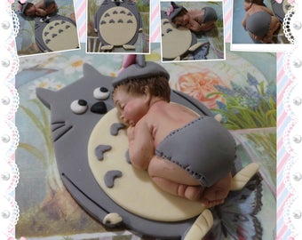 Baby TOTORO Cake topper! Made of Vanilla Fondant  for BABY SHOWER, or Birthday celebration. Excellent choice for your cakes