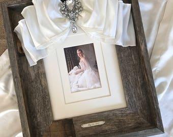 Wedding Frame Barn Wood 8x10 Bow Jewel Personalize Diamond Bling Bride Baby Portrait Name Date Rustic Barn Wedding Decor Farm House Decor