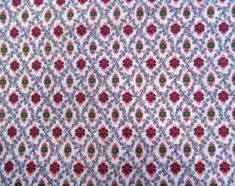 1960s Fabric Remnant ... Vintage Cotton Material ... Floral Quilt Fabric ... Pink ... 3 Yards of Fabric