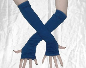 Blue Fingerless gloves Arm warmers armwarmers arm warmer armwarmer armwarmer sleeves thumbholes thumb holes thumbhole thumb hole blue glove