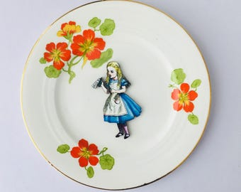 Drink Me Alice in Wonderland Bone China with Orange Cadmium Flowers on White Display 3D Plate Collage Sculpture for Wall Decor Birthday We