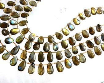 4 Strands Labradorite Beads Multi Fire Smooth Briolette Pear Drops  AA Quality Size 7x9-7x15MM Approx 8''