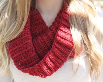 Crochet Women's Scarf, Infinity Scarf, Women's Cowl,Ribbed Scarf, Women's Fashion, Women's Accessories, Winter Scarf, Warm Scarf, Gold Scarf