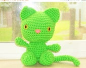 Christmas In July Sale Amigurumi Cat - Playful Kitten -Spring Green -Lime Green Crochet Cat Doll (Finished Doll)