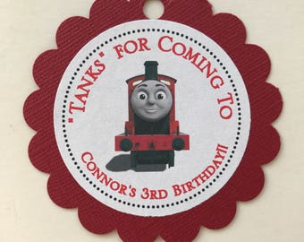James the Red Engine Party Favor Tags