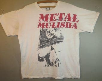 Metal Mulisha, T Shirt, White with Red and Black, Faded with Wear...large