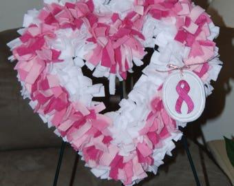 Breast Cancer Awareness Handmade Heart Wreath