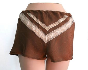 ON SALE Silk Lingerie Shorts Panties Lace / Brown Ivory Chevron Vintage Jacquard / Small - ALMA Garconne Tap Shorts Ready-to-Ship