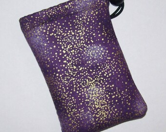 """Pipe Pouch, Pipe Case, Purple + Gold Spots, Glass Pipes, Pipe Bag, Padded Pipe Pouch, 420, Smoke Accessory, Stoner Gift - 5"""" DRAWSTRING"""