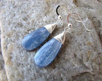 Kyanite earrings sterling silver earrings genuine gemstone denim blue teardrops wire wrapped jewelry