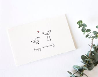 Cute Anniversary Card - Simple Love Birds Drawing - Happy Anniversary