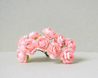 20  mm   / 10  Salmon Pink    Mulberry   Paper  Roses
