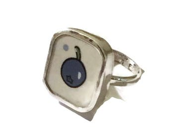 Broken China Jewelry, Blueberry  Ring, Sterling Silver, Any Size, OOAK, Handmade Ring, Recycled. Upcycled