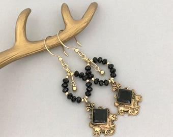 Black Dangle Earrings Gift for Wife - Black Chandelier Womens Earrings - Handmade Vintage Repurposed Earrings - Dangle Drop Unique Earrings