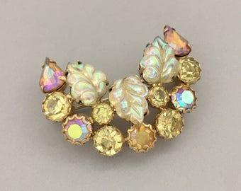Vintage Rhinestone Brooch for Women - Designer Signed WEISS Rhinestone Pin - Summer Jewelry Brooch Gift - Yellow Leaf Rhinestone Jewelry