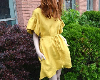 Yellow linen ruffle dress