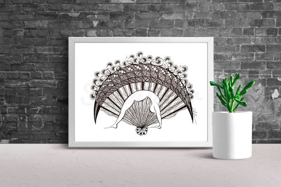 Yoga Art  Zentangle WHEEL -   print from original design and drawing, yoga wall decor