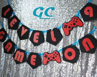 CUSTOM Playstation style Video Game Birthday Banner - ANY color combination - Party Decoration, Bunting, Happy Birthday