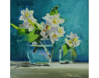 Mock Orange on Blue