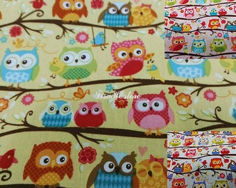 Small owl on tree branch, 1/2 yard, pure cotton fabric