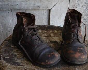 Primitive Antique Children's Boots, Brown Leather Worn Out Boots, Primitive Decor