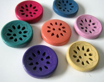 Flower Buttons, Flower Carved Wood Buttons, 18mm, Two Hole Buttons