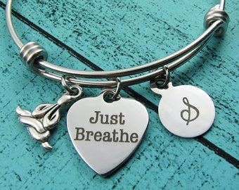 just breathe bracelet, inspirational jewelry, encouragement survivor gift, mindfulness, meditation yoga lover gift for yoga girl, meditating