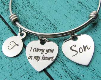 son memorial bracelet gift, loss of son, sympathy gift son, I carry you in my heart memorial gift, in loving memory son, remembrance jewelry