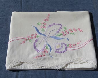 Vintage Embroidered Pillowcase White Cotton Purple Orchid Floral Embroidery