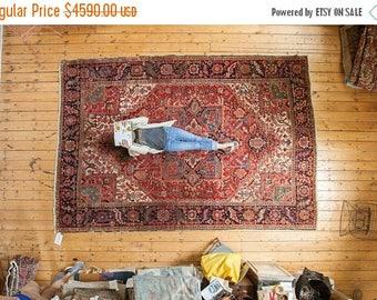 10% OFF RUGS 8x12 Vintage Heriz Carpet