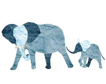 ON SALE Elephant and Baby Elephant Wall Decal Sticker for Jungle Theme Mural (sku:118-stick-17)