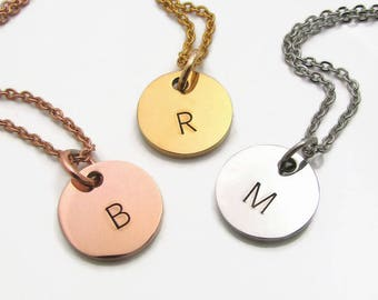 Personalized Initial Necklace, Silver Gold Rose Gold Stainless Steel Personalized Necklace, Personalized Wedding Party Gift, Bridesmaid Gift