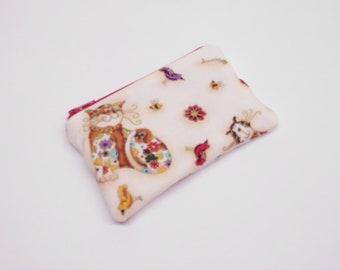 cream gold cat change purse, coin purse with cat, cat zipper pouch, cat zipper bag, small cat wallet, card holder, cat fishbone, cat bird