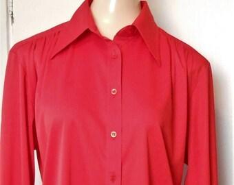 On Sale Vintage, Blouse, Jack Winter, 1960s, Holiday, Size XL, Vintage Blouse, Holiday Blouse, Shirtwaist, 70s Vintage Blouse, Long Sleeve B