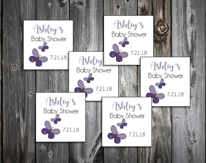 25 Purple Butterfly Baby Shower Favor Stickers. 2 inches by 2 inches.  Price includes personalization and printing.