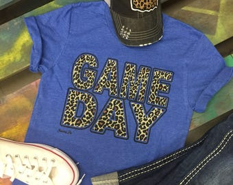 Game Day leopard cheetah sport t-shirt tee soft shirt