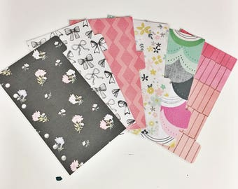 Personal Sized Laminated Dividers For Filofax Medium Kikki-k Planner Black Pastel Pink Teal Purple Mint Banners Bow Geometric Floral Bouquet