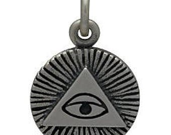 All-Seeing Eye Charm -16mm, Sterling Silver