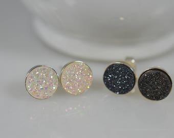 Sterling Silver Druzy Stud Earring Pair in Black or White - 8mm