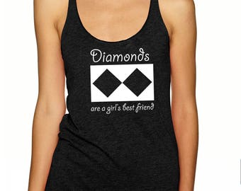 Women's Ski & Snowboard tank top /Diamonds are a Girl's Best Friend /Skiing/Snowboarding / Gift for women/ Black Diamond/ Life is Balance®