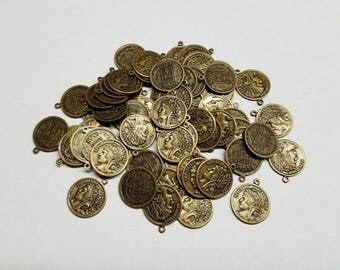 Vintage Look Bras Coin Charms, Coin Pendants, 65 charms