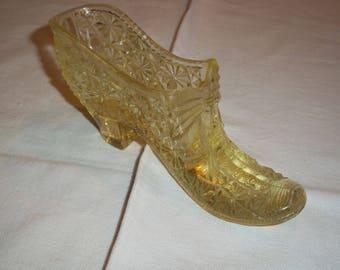 Vaseline glass vintage shoe, Amber daisy button mid century