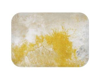 Abstract Mineral Texture, Stone Pattern Bath Mat, Marble Bathroom, Painting Bathroom  Rug,