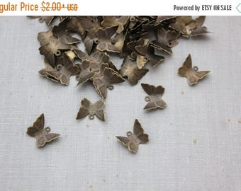 VACATION SALE- Butterfly Charms - Antique Bronze - 13mm