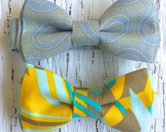 READY TO SHIP (size 3-6 yo), boys yellow bowtie, yellow bow tie, yellow and blue tie, yellow and gray tie, boys bowtie, toddler bowtie