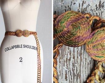 Vintage Tri-Color Braided Belt / Crete Rainbow Belt