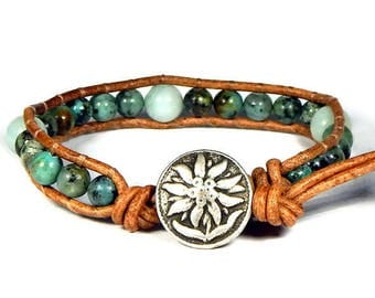 African Turquoise Amazonite Leather Wrap Bracelet Silver Flower Button Bohemian Jewelry Boho Bracelet