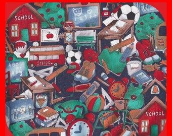 ON SALE Colorful COTTON Fabric School Sports Music Teaching Reds Greens Clocks 1-2/3 Yards