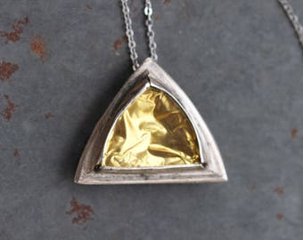 Golden Triangle Necklace - Geometric Pendant - Modern Design short Necklace