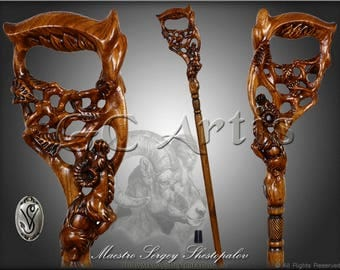 RAM & TREE Dark walking stick cane solid wood handle handcarved crafted authors made top art